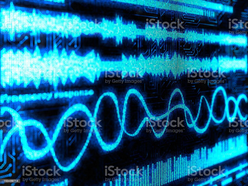 Black background with blue lines show sounds and equalizers stock photo