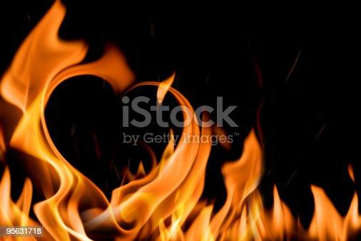 heart shape in fire flame