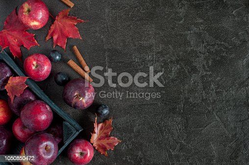 1020586746istockphoto Black background with fresh ripe apples in the wooden box 1050850472
