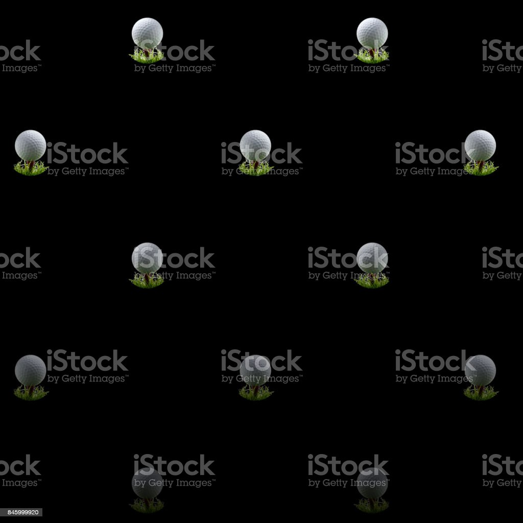 3D, Black background, with golfball on tees equally spread. stock photo