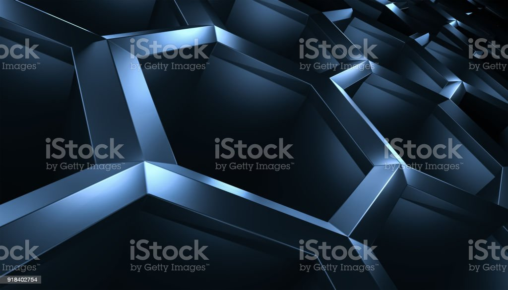 Black background with three-dimensional hexahedron stock photo