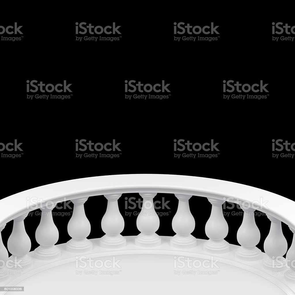 Black background-room with semicircle balustrade stock photo