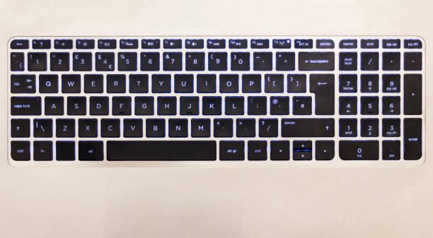 black backlit chiclet laptop keyboard stock photo
