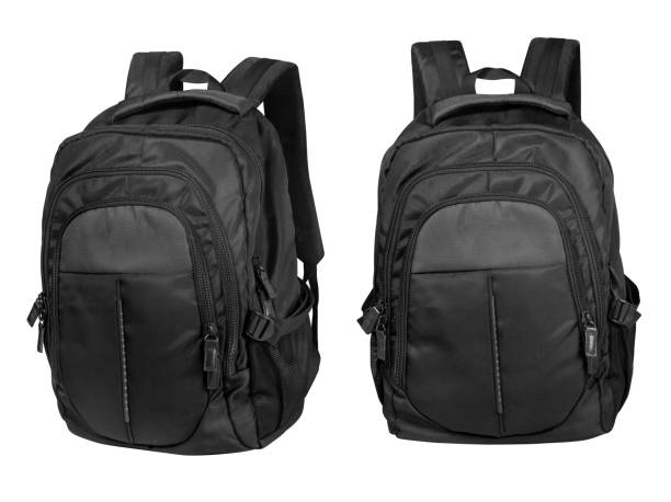 black backpack isolated on a white background stock photo