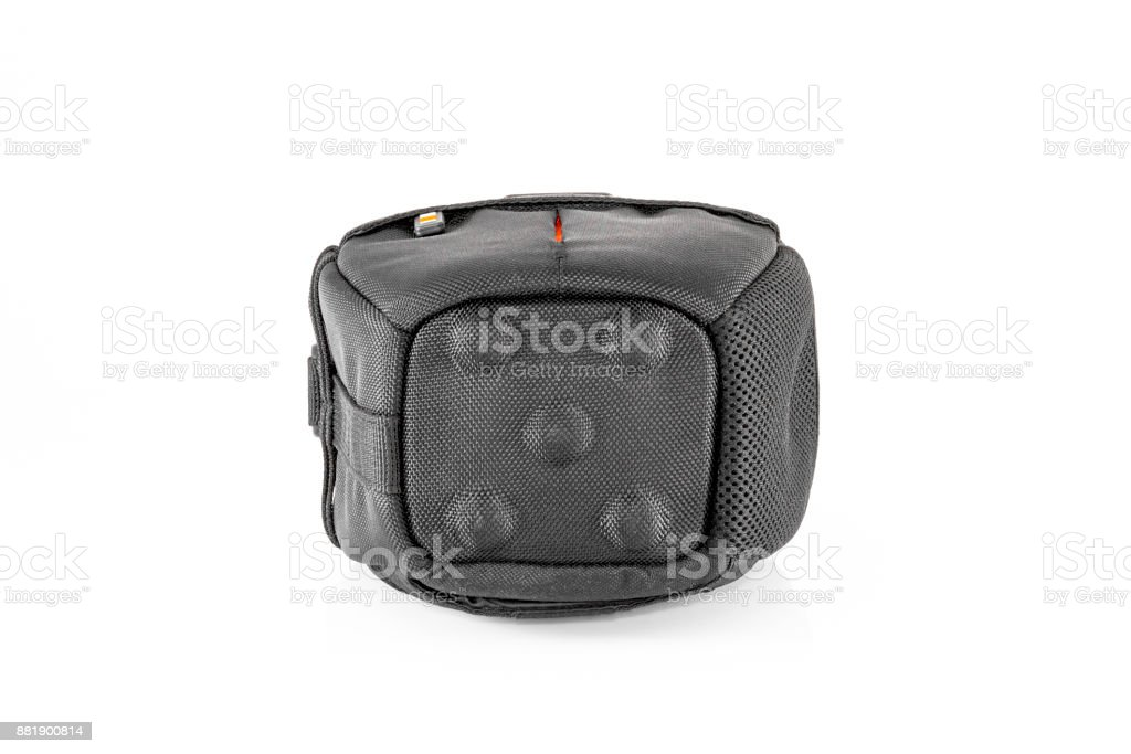Black bag for camera isolated on white background. stock photo