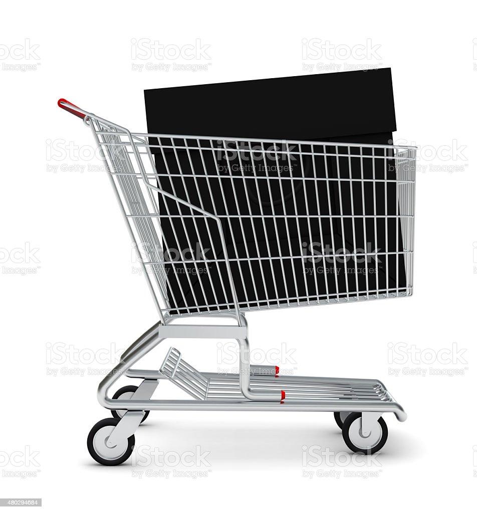 Bolsa preta no carrinho de compras - foto de acervo
