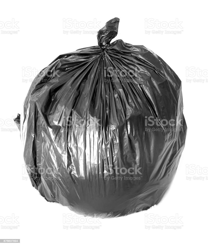 black bag of rubbish stock photo