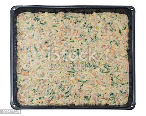istock Black baking sheet with raw dough 927627226