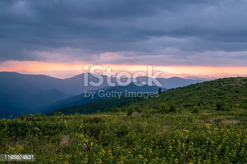 istock Black Balsam Knob in Western NC at Sunset 1165624631