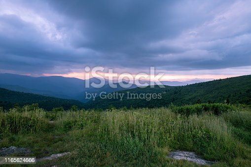 istock Black Balsam Knob in Western NC at Sunset 1165624666