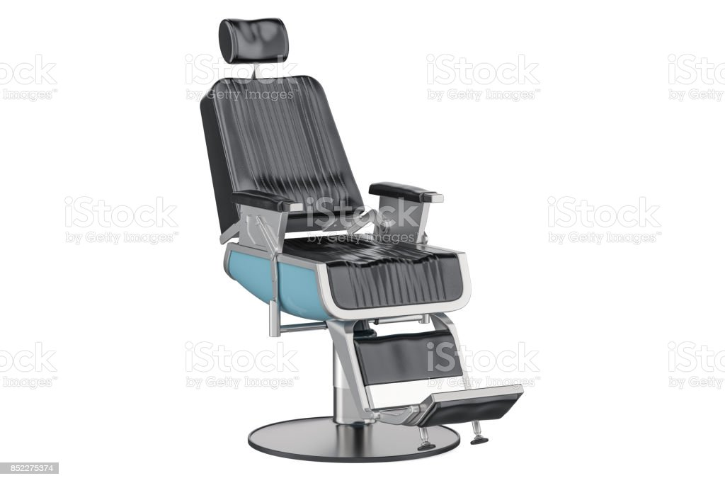 Black Barber Chair, 3D rendering isolated on white background stock photo