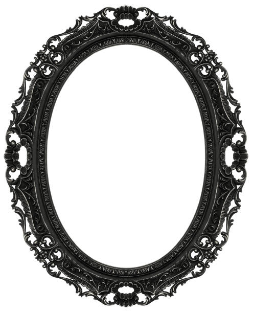 black baroque oval frame - ellipse stock photos and pictures