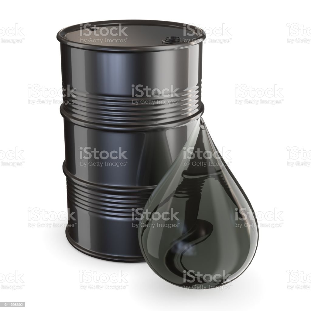 Black barrel and giant oil drop 3D stock photo