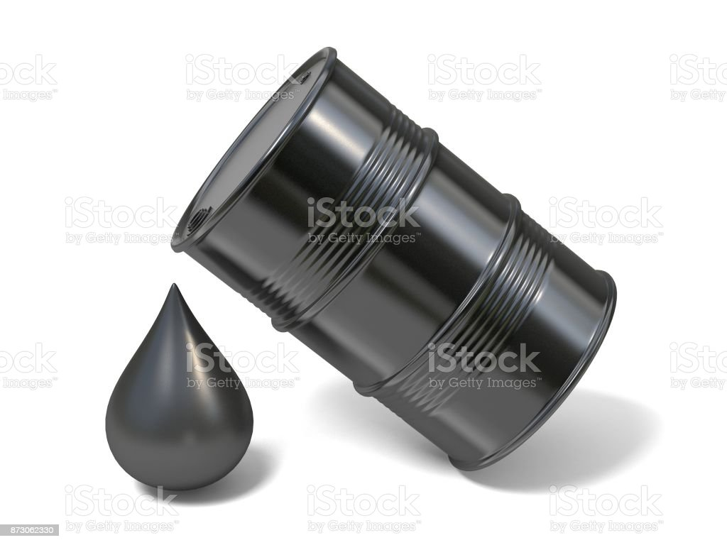 Black barrel and giant oil drop icon 3D stock photo
