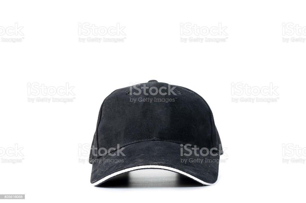 Black baseball cap isolated stock photo