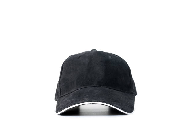 Black baseball cap isolated stock photo