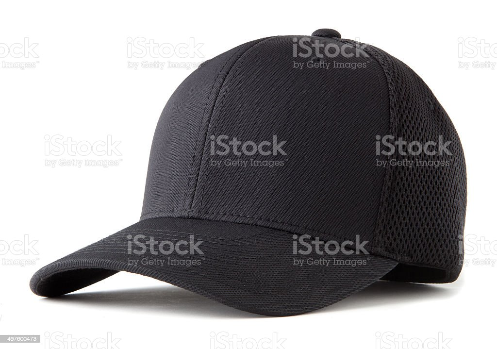 black baseball hat stock photo