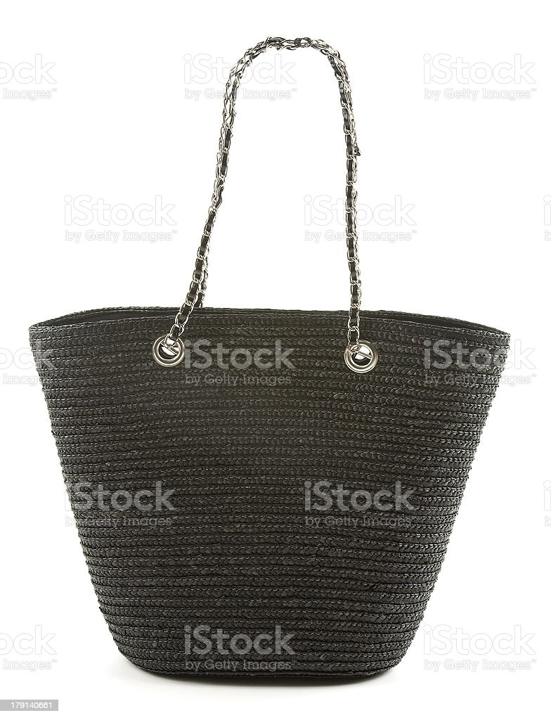 Black basket tote with chain and leather handle stock photo