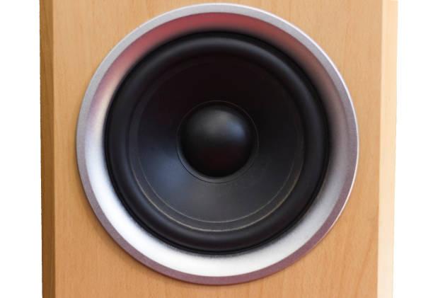 black bass speaker cone in wooden cabnet stock photo