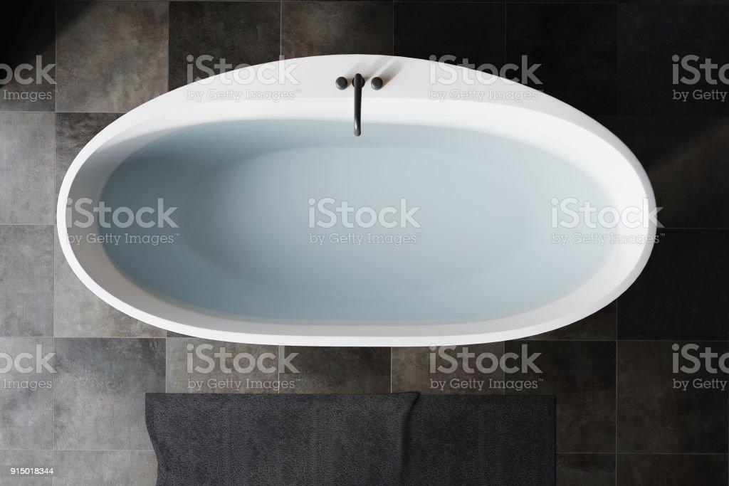 Black Bathroom White Tub Top View Stock Photo Download Image Now