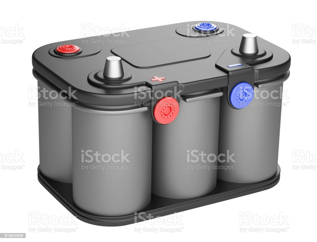Black battery car isolated on a white background. stock photo