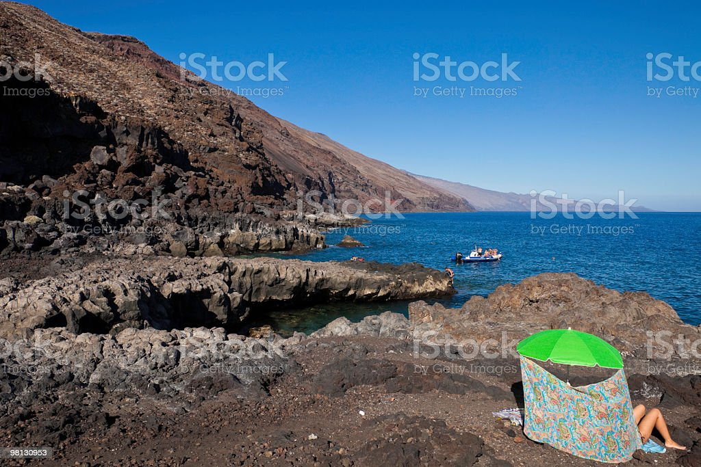 Black Beach of Volcanic Rock, El Hierro, Canary Islands royalty-free stock photo