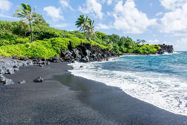 Black beach on Hawaii stock photo