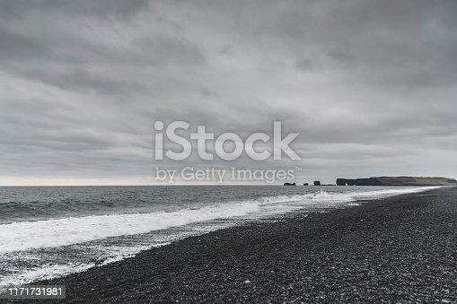 Black beach on the southern Icelandic coast.