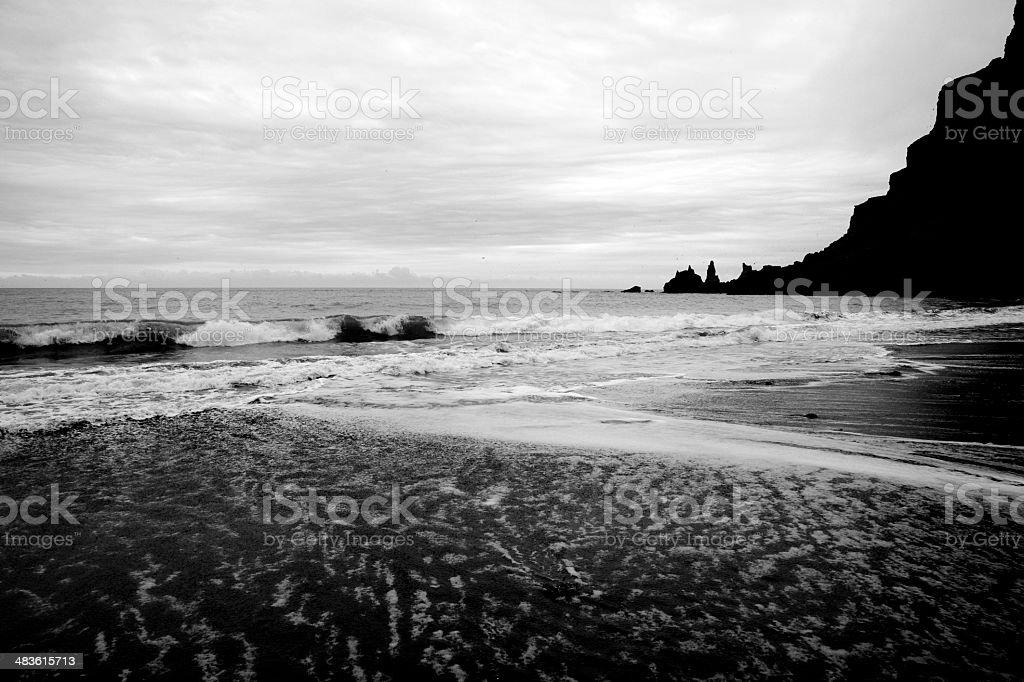 Black Beach Scenic Iceland BW royalty-free stock photo