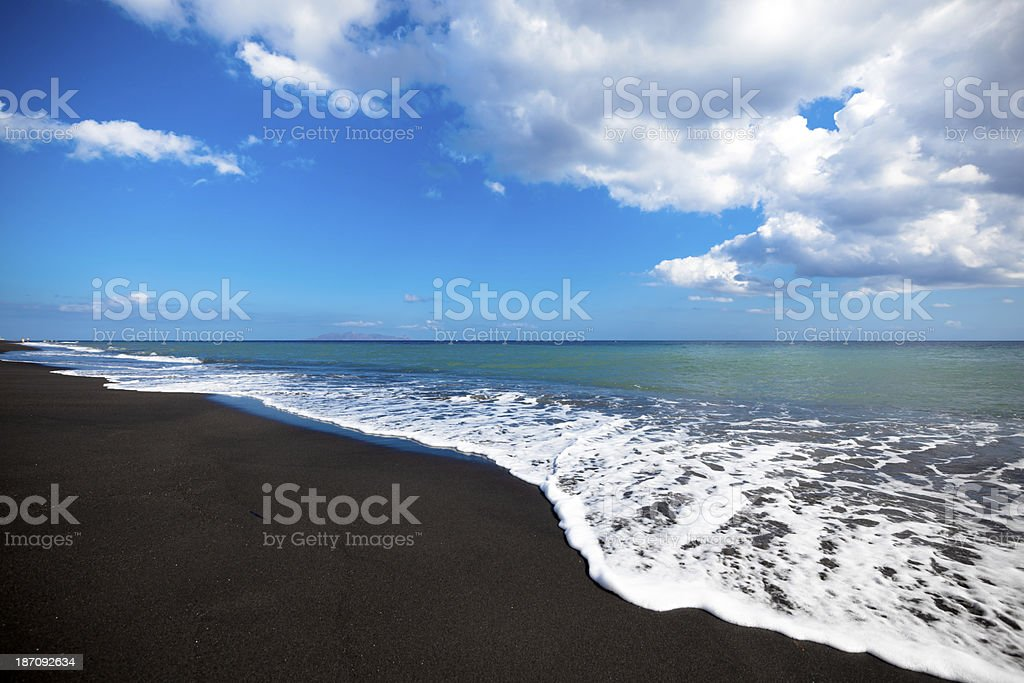 black beach seascape stock photo