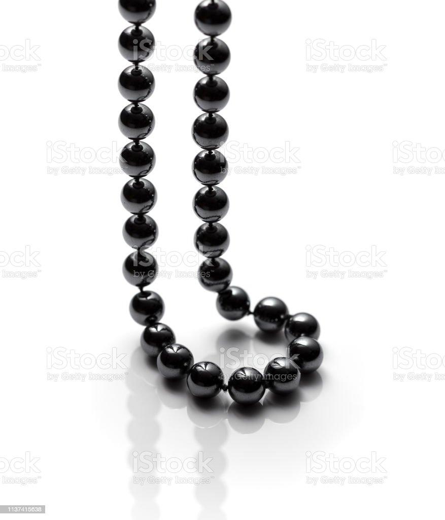 Black bead necklace stock photo