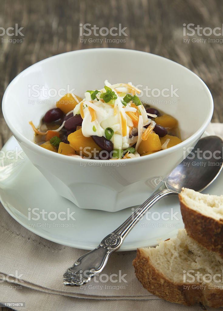Black Bean Chili with Fall Vegetables stock photo