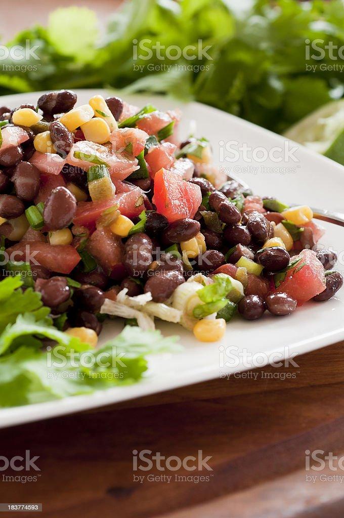 Black Bean Salad on White Plate stock photo