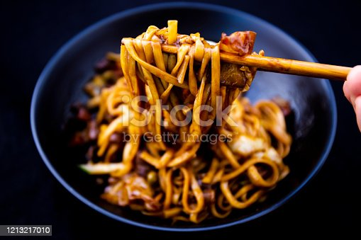 Jajangmyeon, noodle dish topped with black sauce