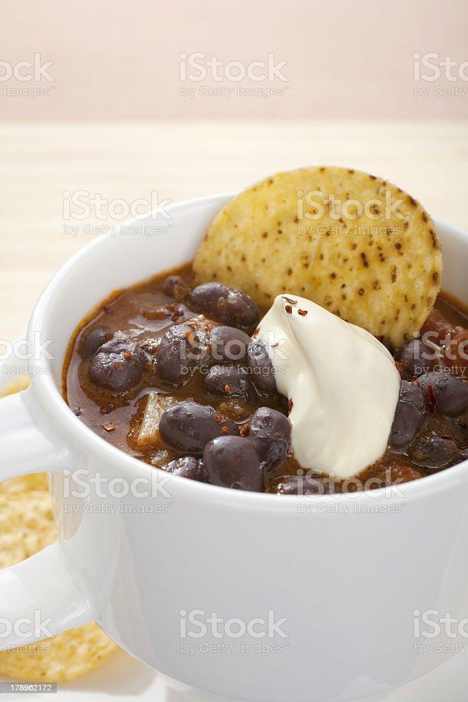 Black Bean Soup Mexican Cup Mug stock photo