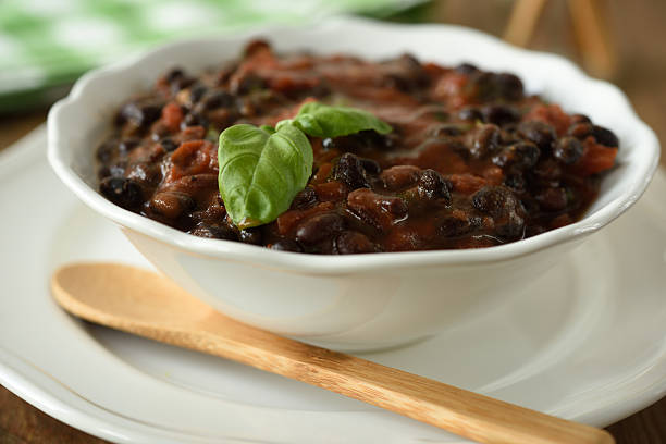 Black bean soup stock photo