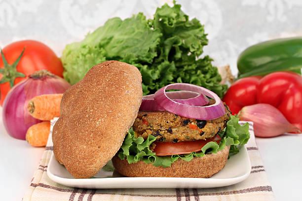 Black bean vegetarian burger stock photo