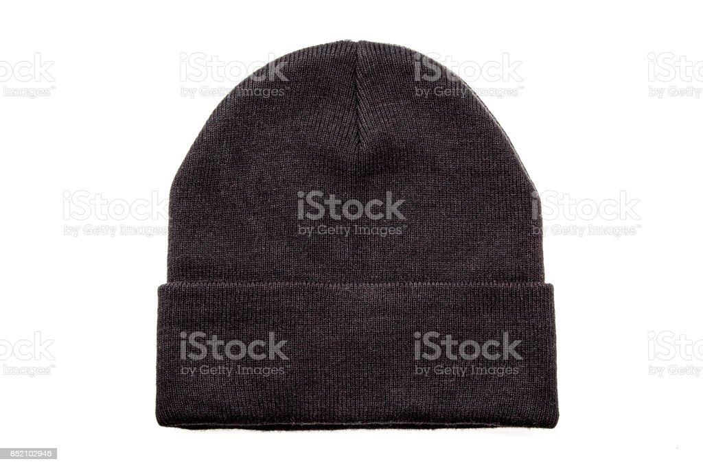 Black beanie on white background stock photo