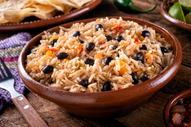 Black Beans and Rice stock photo
