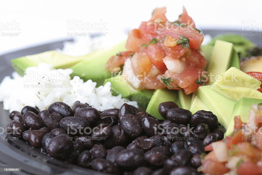 Black beans and rice with salsa stock photo