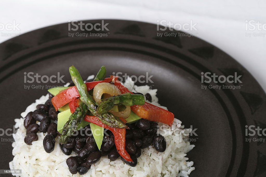 Black beans and rice with veggies stock photo