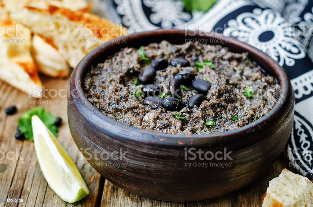 black beans hummus stock photo