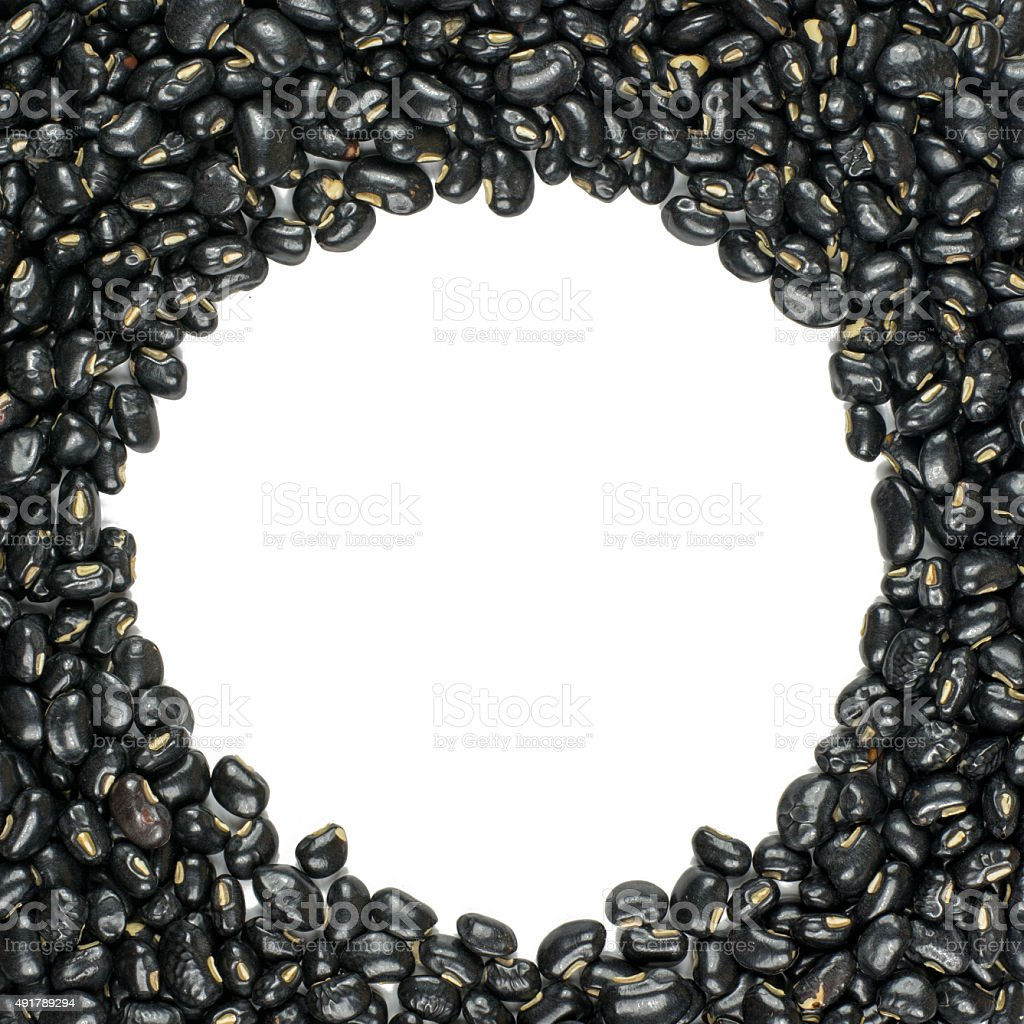 black beans  isolated on white background stock photo