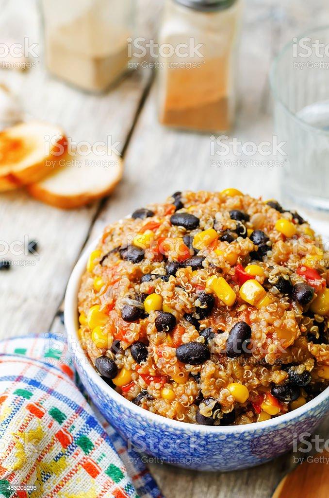black beans, quinoa and corn chili stock photo