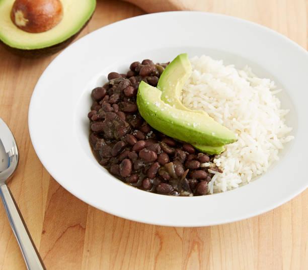 Black beans & rice stock photo