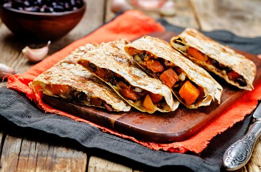 Black beans spiced sweet potato quesadilla