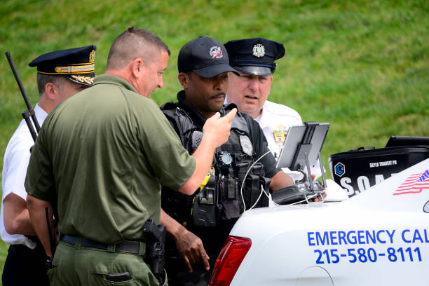 Black Bear Captured after Five-Day Chase Through Southeastern Pennsyvlania stock photo