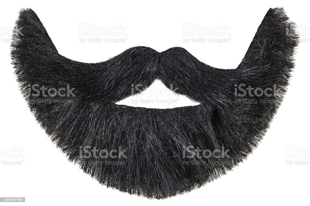 Black beard with mustache isolated on white stock photo