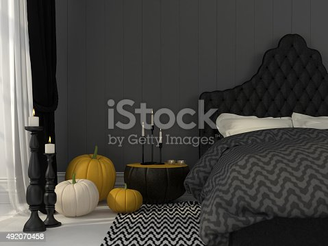 istock Black bedroom decorated for Halloween 492070458
