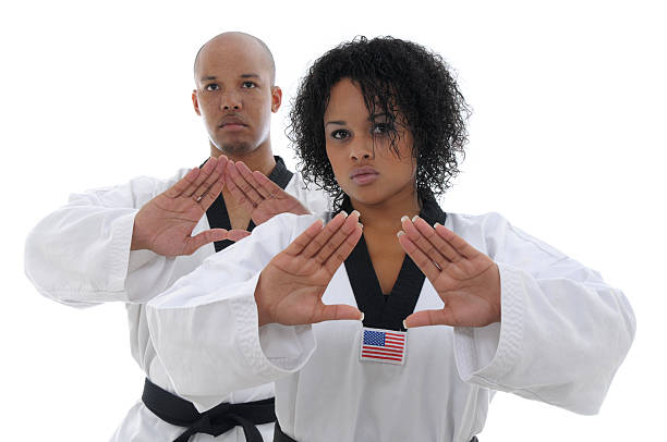 black belt form - martial arts gerville stock photos and pictures